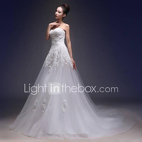 Corte en A Vestido de Boda Capilla Corazón Encaje / Tul con Apliques Descuento en Lightinthebox