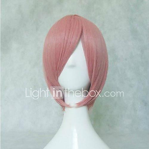 Rosa parrucca cosplay capelli sintetici breve rettilineo