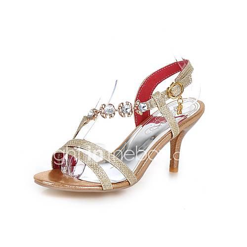 Mujer-Tacón Stiletto-Confort-Sandalias-Vestido Informal Fiesta y Noche-PU-Dorado Plata Rojo