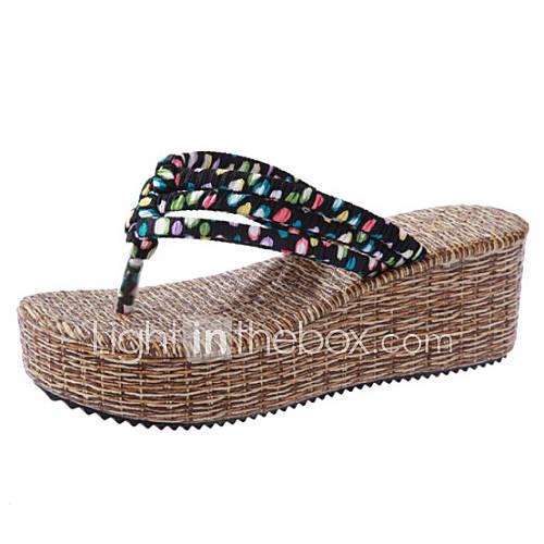 damenschuhe sandalen l ssig stoff keilabsatz. Black Bedroom Furniture Sets. Home Design Ideas