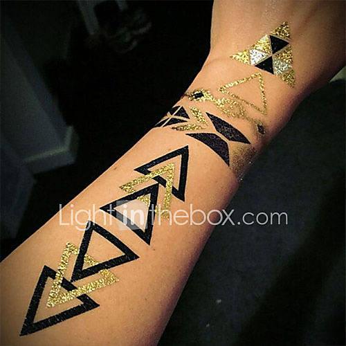 qinmi women jewelry geometric triangle black gold flash