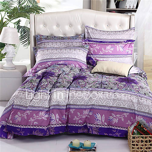 mingjie leaves purple 6d bedding sets 4pcs queen size and full size bed linen china duvert cover. Black Bedroom Furniture Sets. Home Design Ideas