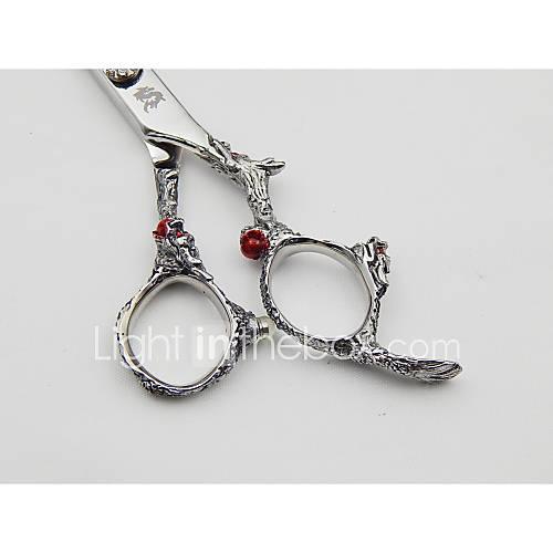 6.0 polegadas tesoura japonês Hitachi aço 440c de alta qualidade punho dragão Cabeleireiro com presentes: Lâmina& clipe& pente