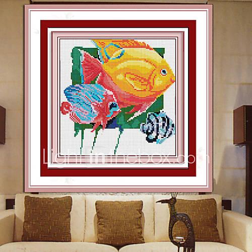 Vis thuis schilderij decor woonkamer diamant kruissteek handwerk muur woondecoratie 31 31cm - Woonkamer deco ...