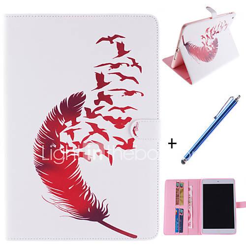 padrões de penas de couro vermelho pu caso de corpo inteiro com suporte e caneta capacitância para iPad mini 1/2/3