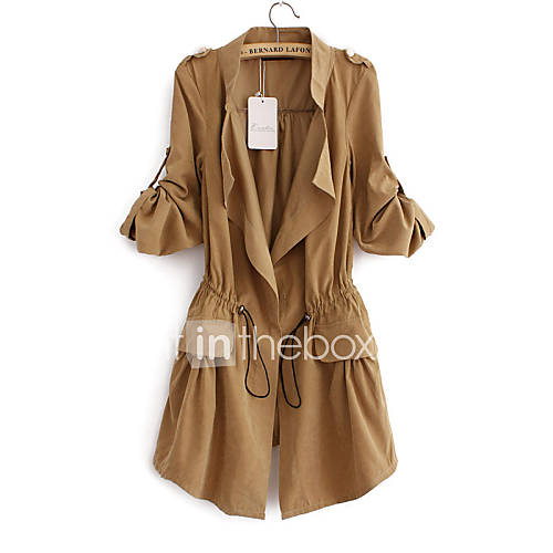 vrouwen-eenvoudig-zomer-trenchcoat-casual-dagelijks-overhemdkraag-lange-mouw-blauw-roze-beige-bruin-effen-patchwork-medium-katoen
