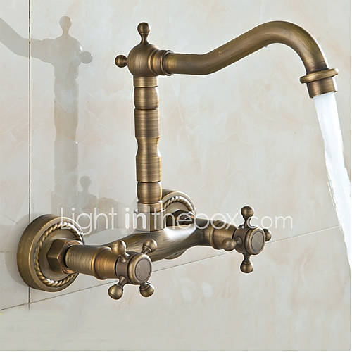 Wall Mounted Double-Handle Antique Bathroom Basin Or