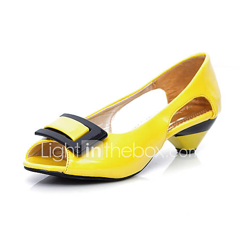 s shoes patent leather low heel peep toe pumps heels