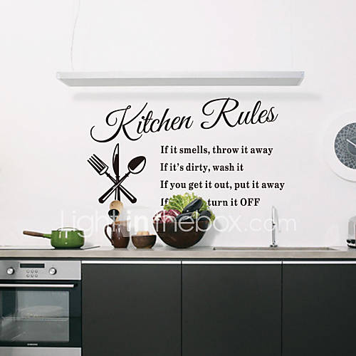 Wall Stickers Wall Decals Style Kitchen Rules English