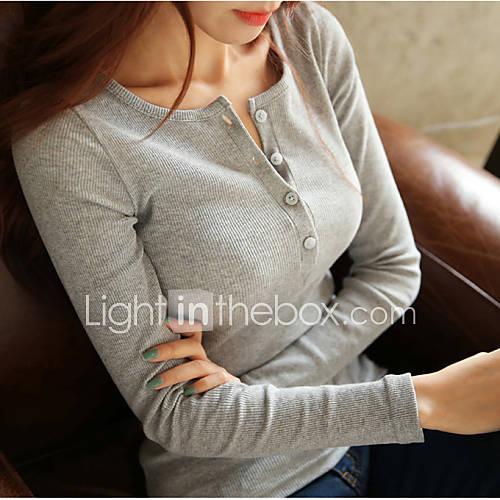 vrouwen-eenvoudig-lente-t-shirt-casual-dagelijks-effen-lange-mouw-roze-wit-zwart-grijs-katoen-polyester-ondoorzichtig