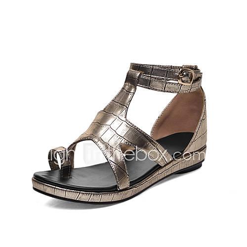 flacher absatz kunstleder frauen vorne offener schuh sandalen schwarz silber gold. Black Bedroom Furniture Sets. Home Design Ideas