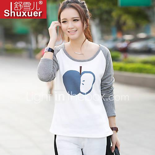 vrouwen-eenvoudig-street-chic-alle-seizoenen-t-shirt-casual-dagelijks-print-lange-mouw-grijs-polyester-medium