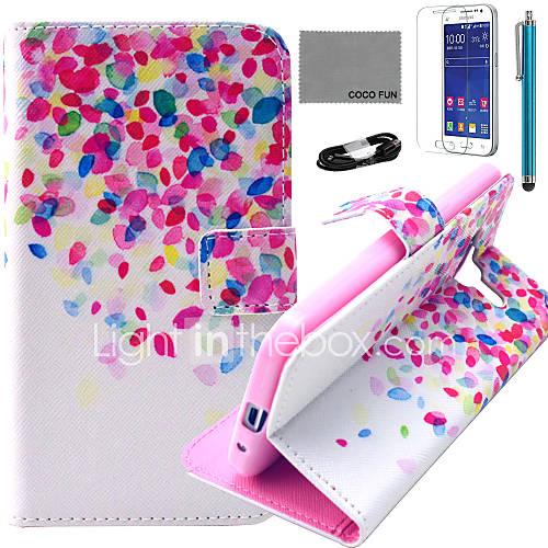 Coco fun pontos coloridos estojo de couro pu com filme e cabo USB e caneta para samsung galaxy núcleo G360 prime / g3608