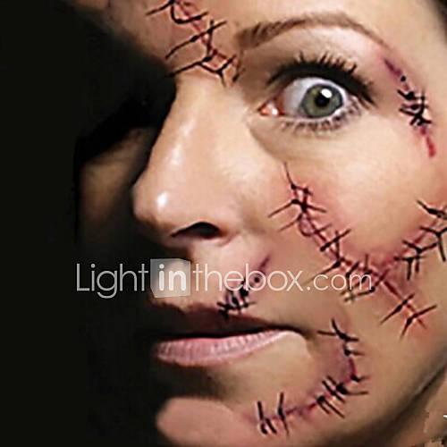 el terror de Halloween aguja de sutura de la herida miedo pegatinas tatuaje tatuajes temporales (1 unidad) Descuento en Lightinthebox