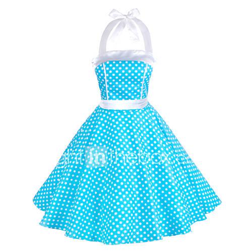 Dames Uitgaan Vintage / Schattig A-lijn / Skater Jurk Polka dot-Halter Tot de knie Mouwloos Blauw / Rood / Wit / Zwart / Groen Katoen