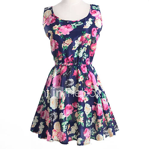 ronde-hals-chiffon-bloem-mini-vrouwen-jurk-mouwloos