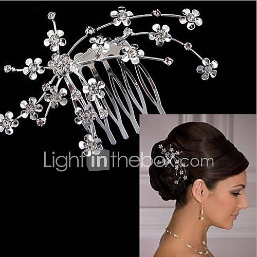 Women's Cute Party Cubic Zirconia Silver Plated Alloy Hair Stick - Solid Colored