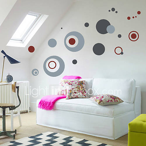Circle wall decals high quality wall arts home decor morden mural art zooyoo7119 living room - Grijze muur deco ...