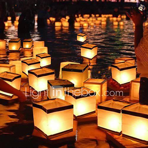 Cuadrado, desear, linterna, flotante, agua, linternas, lámpara, luz, vela, cuadrado, papel, desear ...