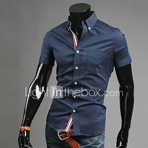 Camisa De los hombres Un Color Casual / Trabajo / Formal-Mezcla de Algodón-Manga Corta-Negro / Azul / Rojo / Blanco