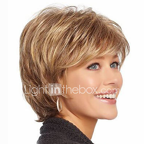 Synthetic Wig Wavy With Bangs With Bangs Highlighted/Balayage Hair Brown Women's Capless Natural Wigs Short Synthetic Hair