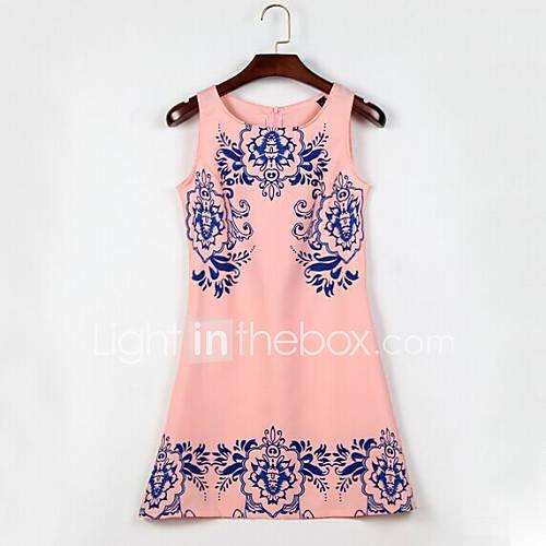 bandje-ronde-hals-chiffon-katoen-polyester-bloem-mini-vrouwen-jurk-mouwloos