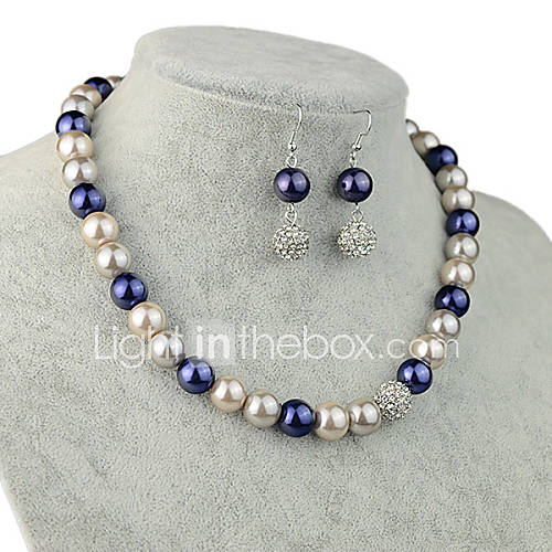 Women Party Casual Western Style Fashion Alloy Imitation Pearl Necklace Earrings Sets 4226243