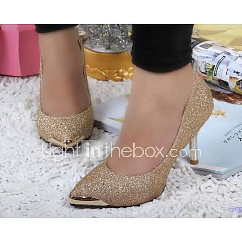 Zapatos de mujer - Tacón Kitten - Tacones / Puntiagudos / Punta Cerrada - Tacones - Vestido / Casual - Purpurina / Semicuero - Negro / Oro Descuento en Lightinthebox