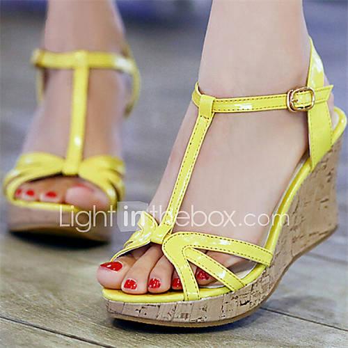 s shoes wedge heel open toe sandals dress yellow