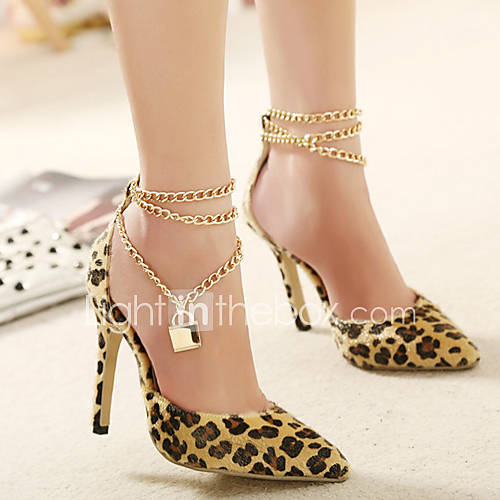 Women s shoes fleece stiletto heel pointed toe pumps dress animal