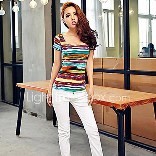Vrouwen Eenvoudig Zomer T-shirt,Casual/Dagelijks Gestreept Diepe U-hals Korte mouw Blauw / Groen Katoen Medium