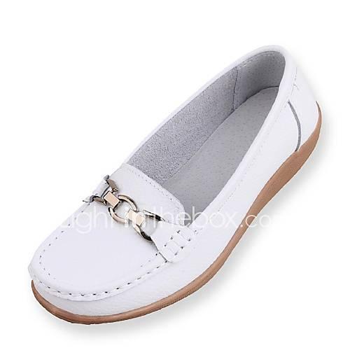 Zapatos de mujer tac n plano comfort punta redonda for Zapatos de trabajo blancos