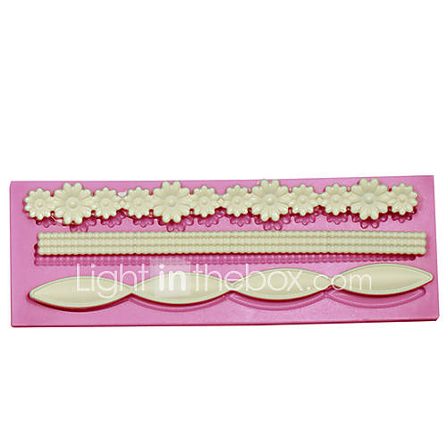 Cake Decorating Borders : Long Flower Baking Fondant Cake Choclate Candy Mold Cake ...