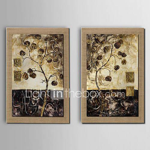 Peinture l 39 huile abstraite d coration arbre chanceux for Peinture lin naturel
