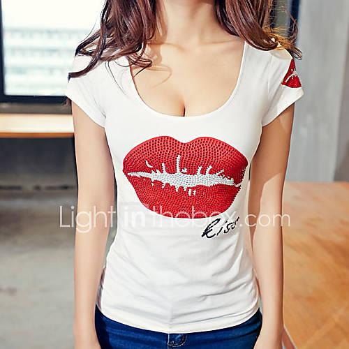 Vrouwen Eenvoudig Alle seizoenen T-shirt,Casual/Dagelijks Print Ronde hals Korte mouw Wit Katoen Medium