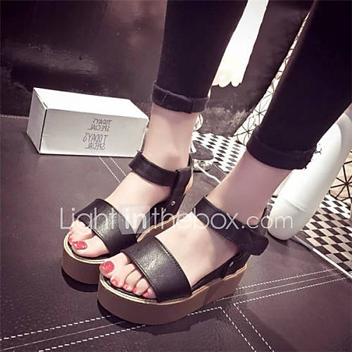 chaussures femme habill noir blanc talon compens bout ouvert sandales similicuir. Black Bedroom Furniture Sets. Home Design Ideas