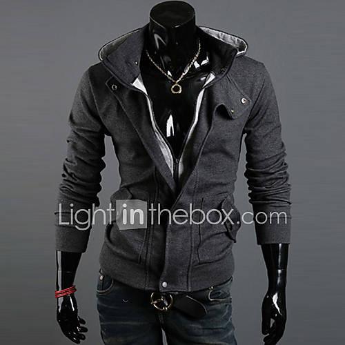 Men's Long Sleeve Hoodie  Sweatshirt  Cotton Blend / Polyester Pure