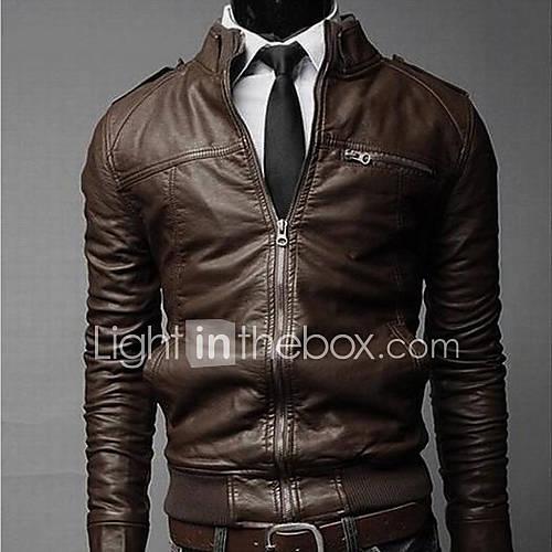Coats & Jackets , Acrylic / Leather Long Sleeve Casual / Work