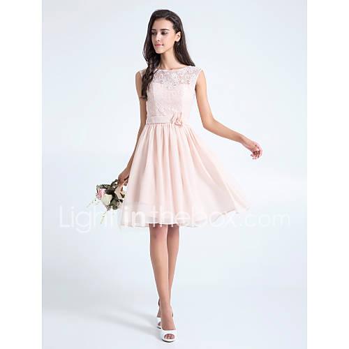 Lanting bride knee length lace bridesmaid dress a line - Rosa kleid kurz ...