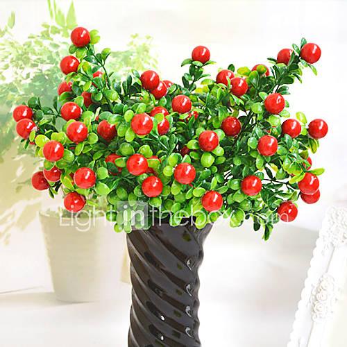 1 rama poli ster pl stico plantas flor de mesa flores - Frutas artificiales para decoracion ...