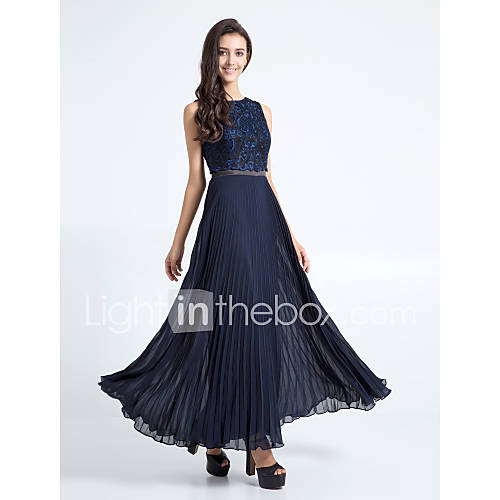 Ankle Length Chiffon Lace Bridesmaid Dress: Lanting Bride® Ankle-length Chiffon / Lace Bridesmaid