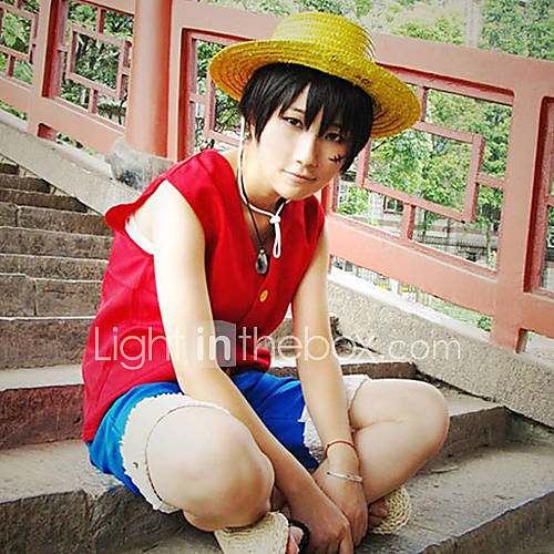 Inspired by One Piece Monkey D. Luffy Anime Cosplay Costumes Cosplay Suits Patchwork Sleeveless Vest Shorts For Male