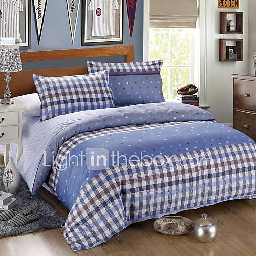 light blue cotton bedding set of 4pcs queen size 3934972. Black Bedroom Furniture Sets. Home Design Ideas