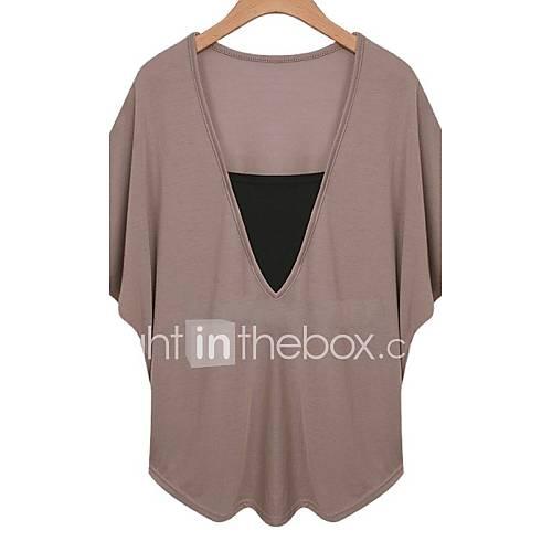 vrouwen-eenvoudig-zomer-t-shirt-casual-dagelijks-effen-v-hals-korte-mouw-wit-zwart-bruin-katoen-dun