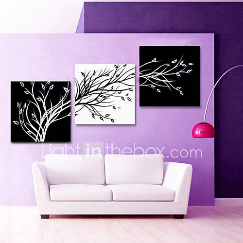 visual star black and white abstract tree canvas wall art. Black Bedroom Furniture Sets. Home Design Ideas