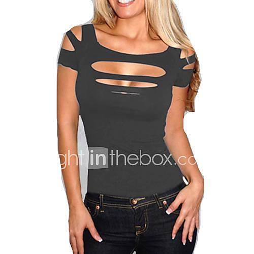 dames-eenvoudig-zomer-t-shirt-casual-dagelijks-effen-vierkante-hals-korte-mouw-rood-zwart-paars-katoen-dun
