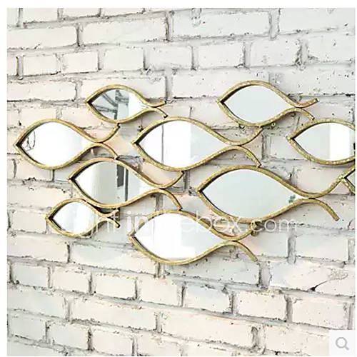 E Home Metal Wall Art Wall Decor Fish Shaped Mirror Wall