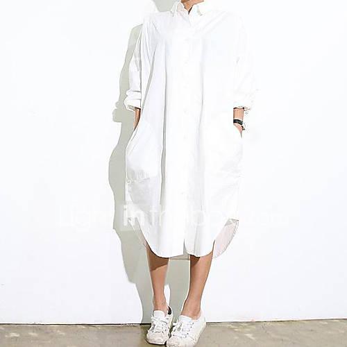 De las mujeres Simple Casual/Diario Verano Camisa,Cuello Camisero Un Color Manga Larga Blanco Fino Lightinthebox