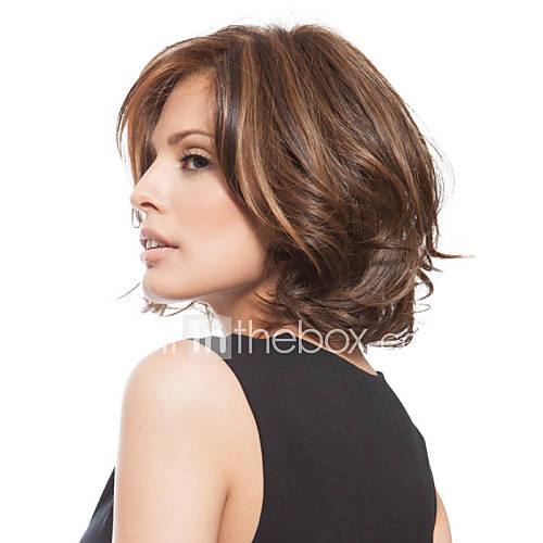 Synthetic Wig Wavy Side Part Layered Haircut Bob Haircut With Bangs Fashion Brown Women's Capless Natural Wigs Short Synthetic Hair