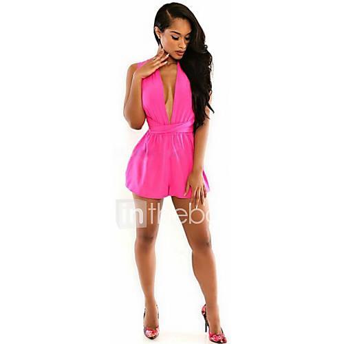 femme ample combinaison pantalon sexy mignon soir e couleur pleine v profond sans manches taille. Black Bedroom Furniture Sets. Home Design Ideas